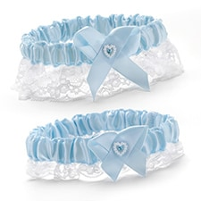 Heart and Rhinestone Garter Set - Blue