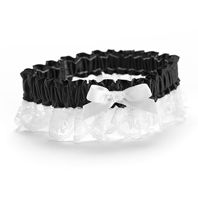 Ribbon and Lace Garter - Black