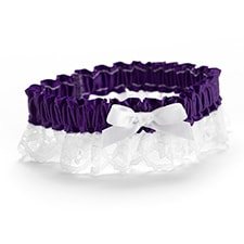 Ribbon and Lace Garter - Grape