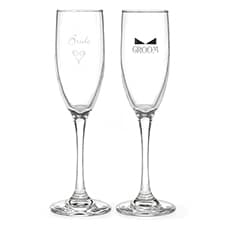 Heart and Bow Tie Bride and Groom Flutes