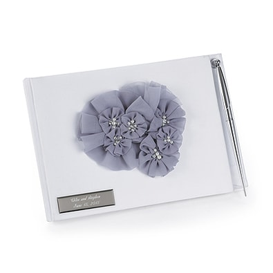 Glamorous Grey Guest Book with Pen Set