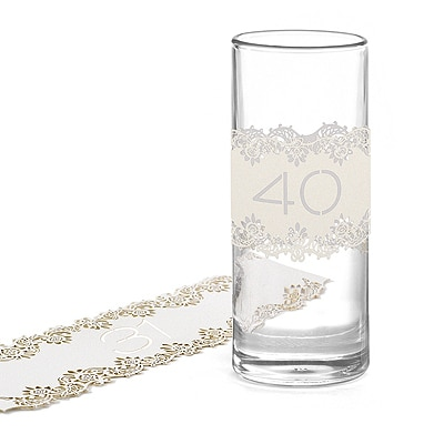 Laser-Cut Table Number Wraps 31-40 - White Shimmer