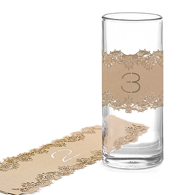 Laser-Cut Table Number Wraps 1-10 - Kraft