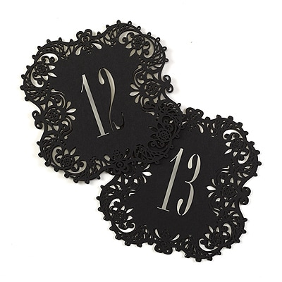 Laser-Cut Table Number Cards 11-20 - Black
