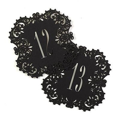 Laser-Cut Table Number Cards 11-20 - Black