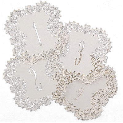 Laser-Cut Table Number Cards 1-10 - White Shimmer