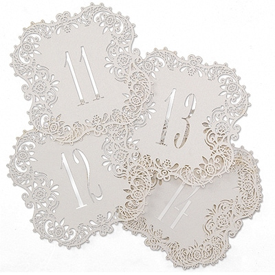 Laser-Cut Table Number Cards 11-20 - White Shimmer