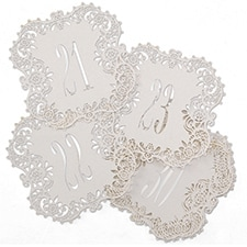 Laser-Cut Table Number Cards 21-30 - White Shimmer