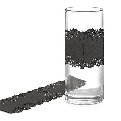 Laser-Cut Table Number Wraps 1-10 - Black
