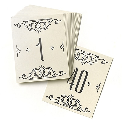 Glamour - Table Number Cards (1-40)