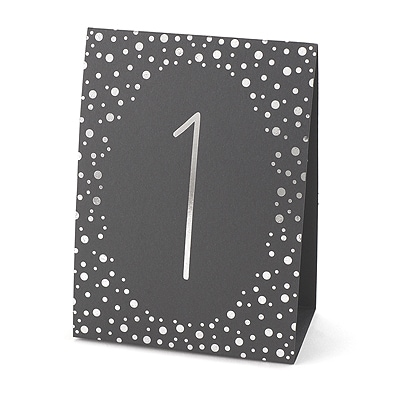 Polka Dot - Table Number Tents (1-40) - Silver