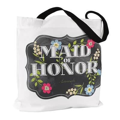 Chalkboard Floral - Tote Bag - Maid of Honor