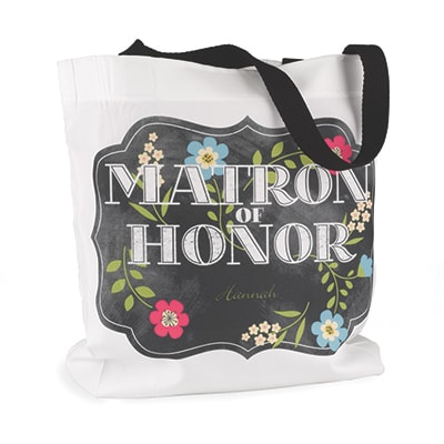Chalkboard Floral - Tote Bag - Matron of Honor