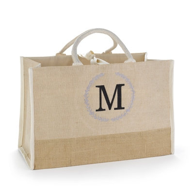 Rustic Wreath Custom Initial Jute Tote Bag
