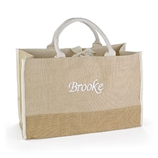 Custom Natural Jute Tote Bag - Large