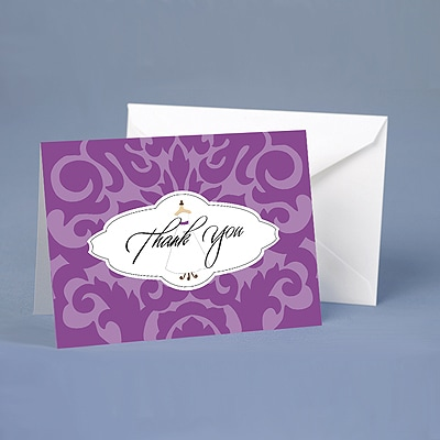 Wedding Gown Damask - Thank You Card and Envelope