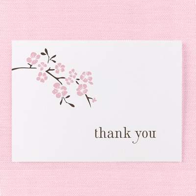 Cherry Blossom - Thank You Card and Envelope
